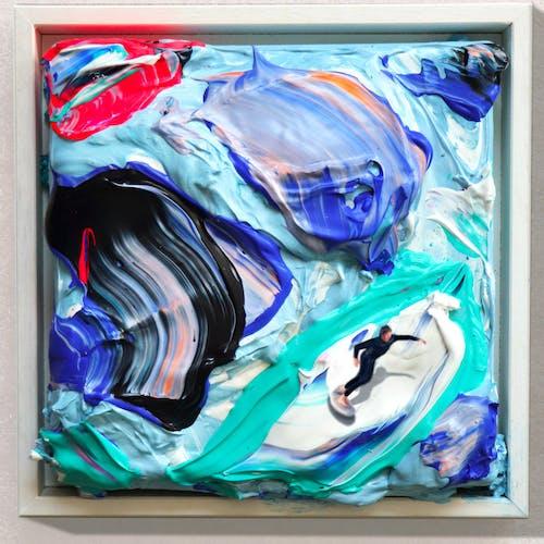 Golsa Golchini, The black rider, 2020 Mixed Media on Canvas, Framed.