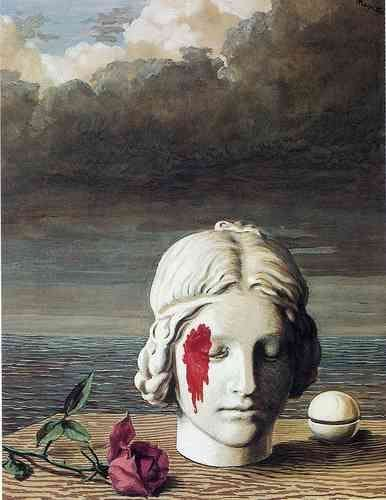 A painting by René Magritte, depicting a statue bleeding from the head.