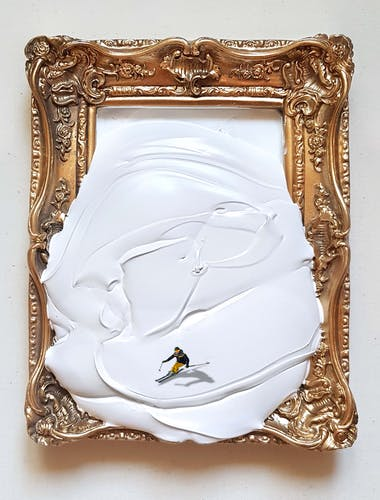 Golsa Golchini, A framed white, 2020 Mixed Media & Acrylic on Frame.