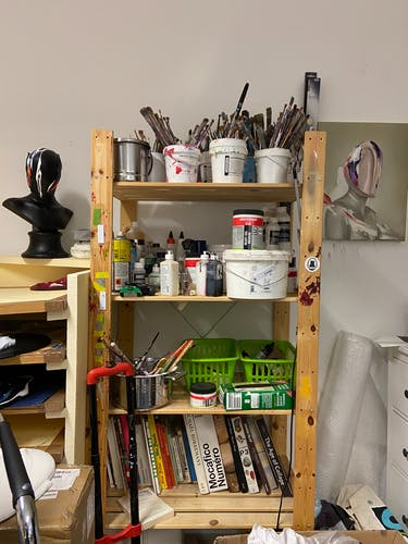 A selection of materials and books inside the studio of Fabio la Fauci.