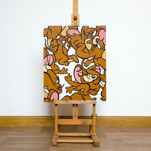 Miguel Angel Funez, MOUSE MINCEMEAT, 2021 Acrylic on Canvas 38 × 46 cm 14 ⅞ × 18 ⅛ in.