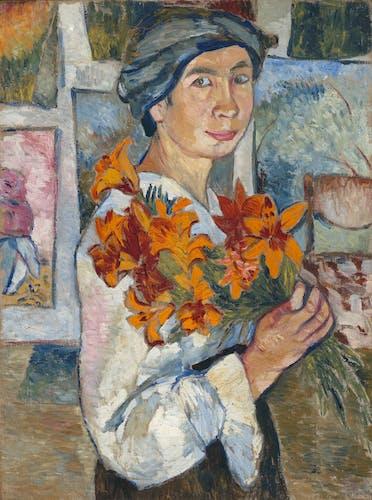 Natalia Goncharova, Self-Portrait with Yellow Lilies, 1907–08, Oil on canvas.