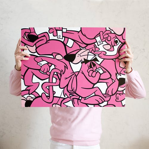 Miguel Angel Funez, PINK LION MINCEMEAT, 2021 Acrylic on Canvas 61 × 46 cm 24 × 18 ⅛ in.