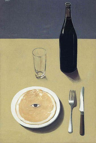 A painting by René Magritte depicting a dinner table with a bottle of wine and a pancake with a singel eye.