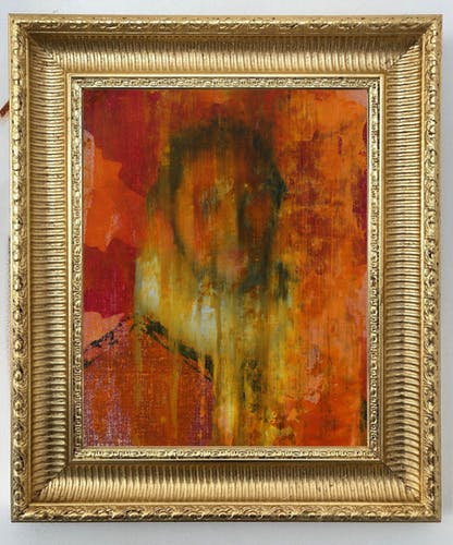 Frans Smit, PORTRAIT OF A MAN WITH RED AND YELLOW, 2020 Oil on Linen, Framed 24 × 31 cm 9 3/8 × 12 1/8 in.