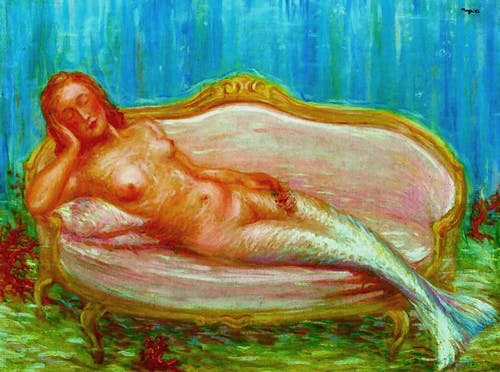 A brightly coloured impressionistic painting of a mermaid by René Magritte.