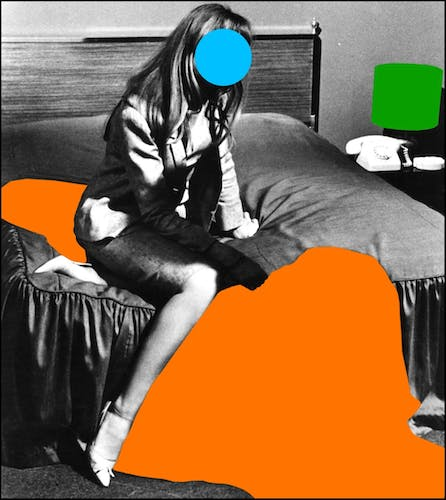 One of John Baldessari film stills with colour dots and surfaces.