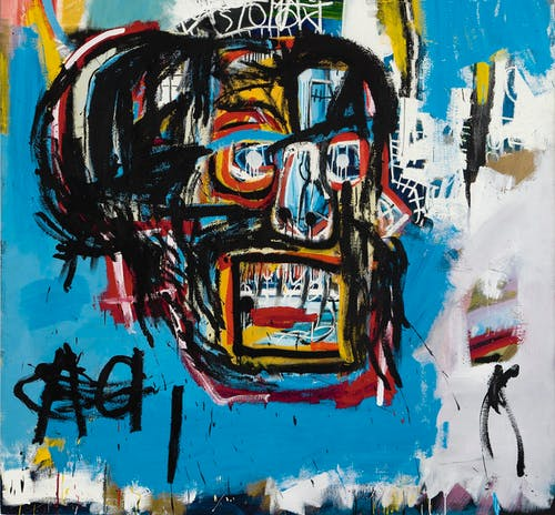 Sotheby's set a new auction record for a work of art by an American artist in May 2017 when it sold Basquiat's 1982 painting, an untitled oil stick, acrylic and spray paint work on canvas, depicting a skull, for $110.5 million. Photo courtesy Sotheby's