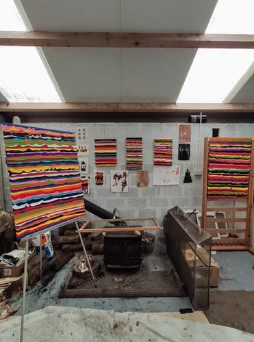 Paintings drying inside the studio of Derick smith.
