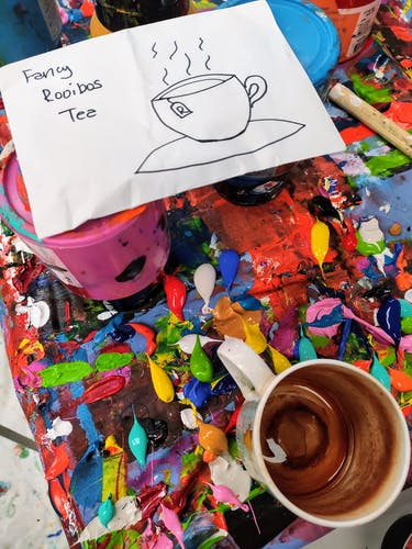 A cup of tea inside the studio of Derick Smith.