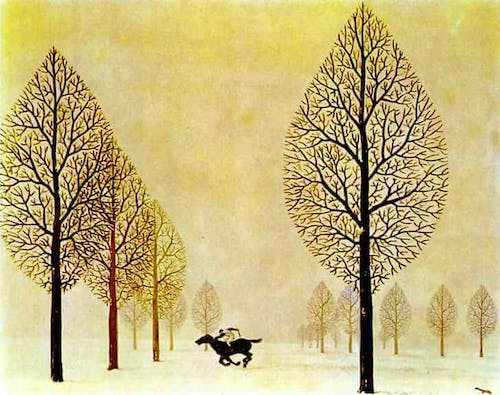 a collage by René Magritte depicting a man riding a horse through the forest.