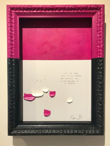 Piper Bridwell, LIPS ARE SEALED, 2020, Mixed Media on Vintage Frame 45.5 × 61 cm 17 3/4 × 24 in.