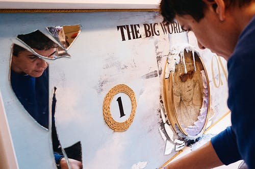Vera Vizzi in the process of creating one of her bigger artworks.