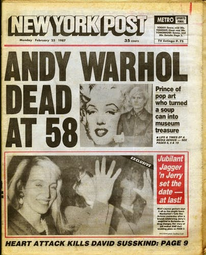 The New York Times announces the death of Andy Warhol.