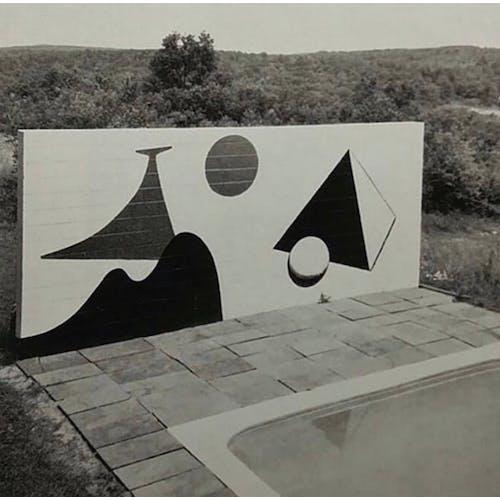 Image: Pool side mural painting by Alexader Calder