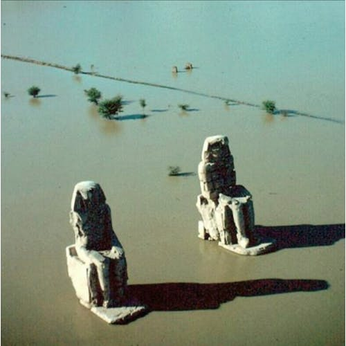 Image: Flooded Nile, Colossi of Memnon, by Eliot Elisofon, Egypt, 1965