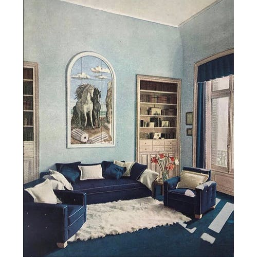Image: Jean-Charles Moreux's apartment in Paris with a canvas by Giorgio De Chirico